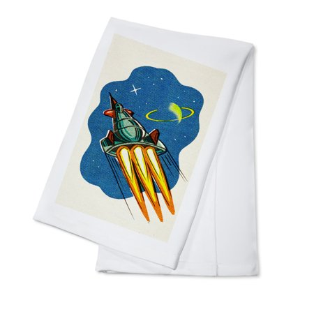 Spaceship - Offset Halftone - Lantern Press Artwork (100% Cotton Kitchen Towel) (Offset Press)