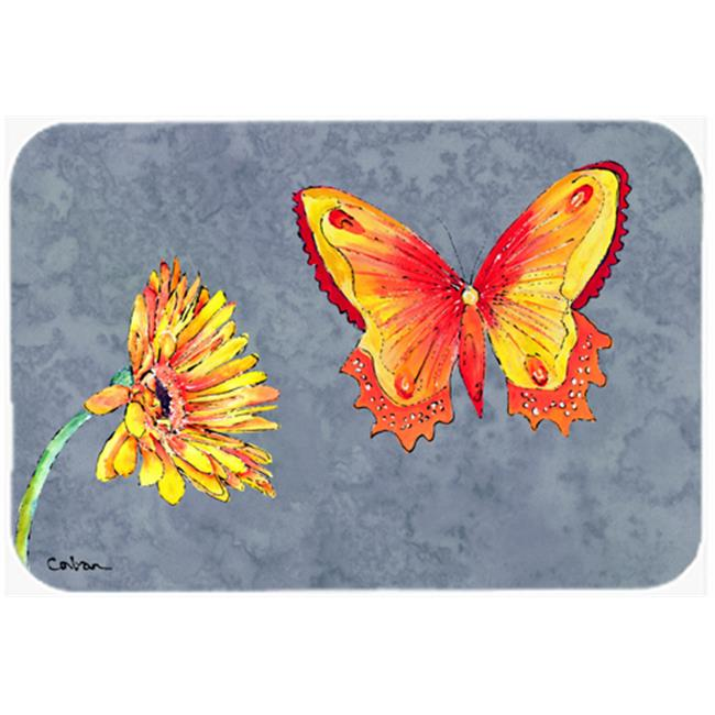 9.5 x 8 in. Gerber Daisy and Buttefly Mouse Pad, Hot Pad or Trivet