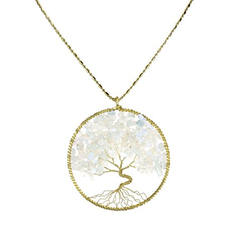Simulated Moonstone Eternal Tree of Life Brass Long