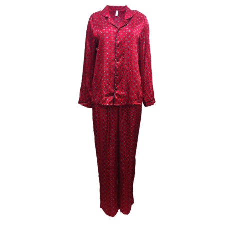a00044cadb George Womens Red Floral Satin Button Up Pajamas Silky Pajama Sleep Set S -  Walmart.com