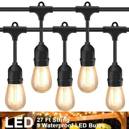 LED Outdoor String Lights 55Ft with 16 Hanging Sockets Cafe Vintage Bistro Weatherproof Strand for Porch Patio Garden (Led Hanging Lights)
