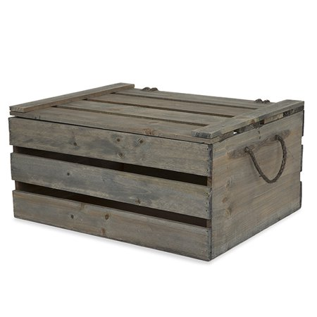 Antique Green Grey Wooden Crate Storage Box with Lid - Large (Wooden Container)