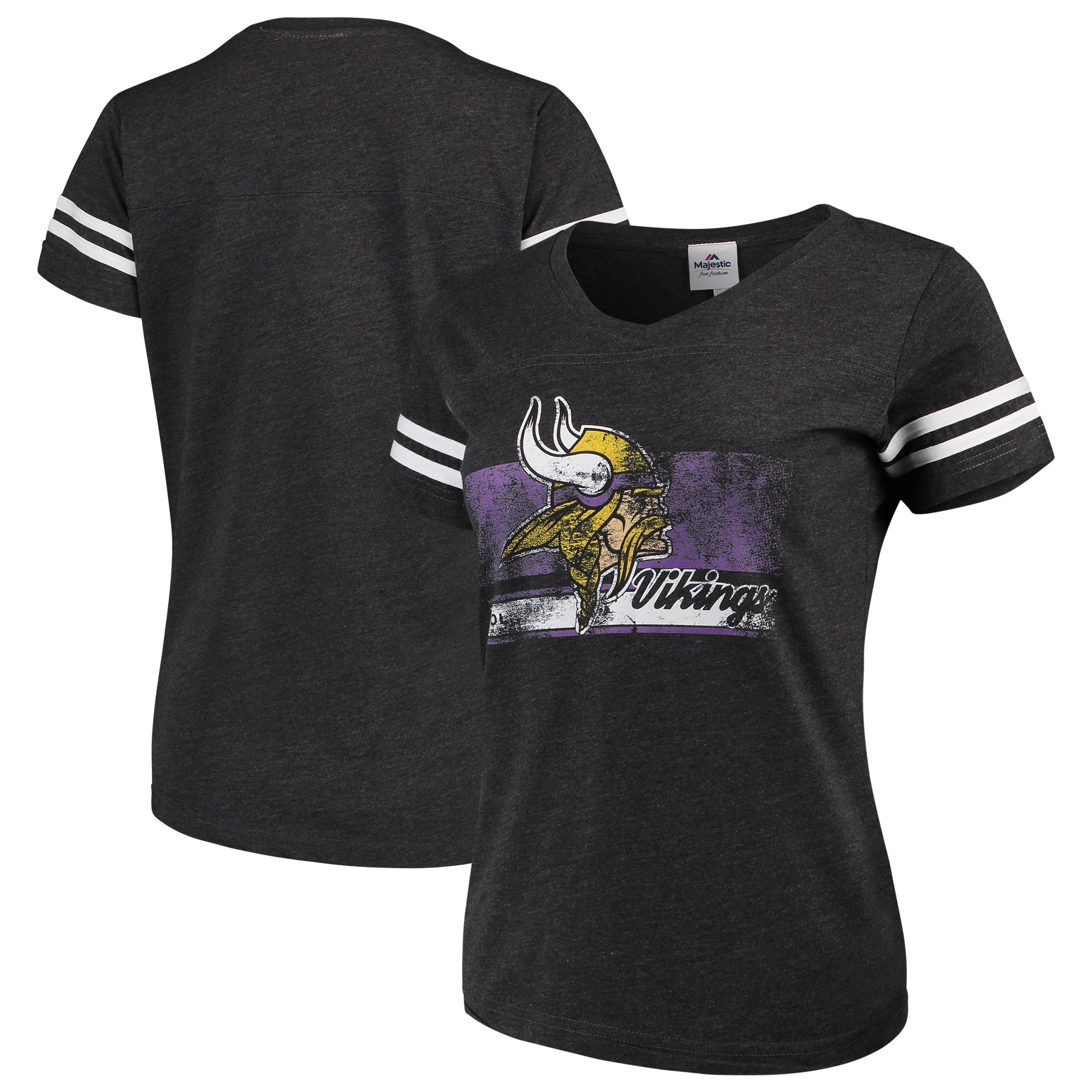 Minnesota Vikings Majestic Women's Legendary Look V-Neck T-Shirt - Heathered Charcoal/White