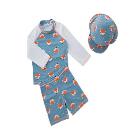 5cd7c1056c stylesilove Boys Little Fox Rashguard Swimsuit and Shorts With Hat 3 Pcs Set  (3/