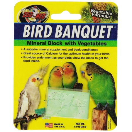 Laboratories BZMBBVS Bird Banquet Vegetable Mineral Block, Small, Provides enrichment as your birds chew the block to get the Food inside By Zoo Med