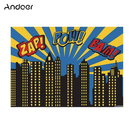 Andoer 1.5 * 2.1m/5 * 7ft Super Hero City Photography Background Baby Children Backdrop Photo Studio Pros, Design - Backdrop Design