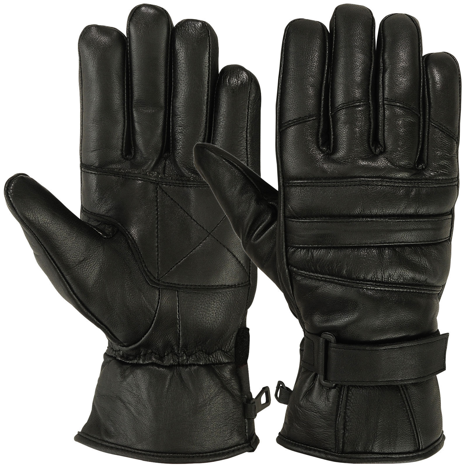 Mens Warm Winter Dress Glove Genuine Leather Motorcycle Gloves, Black (Large)