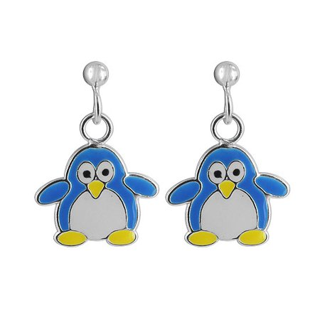 Gem Avenue 925 Sterling Silver Blue Penguin Post Back Drop Earrings Drop Single Stone Post Earrings