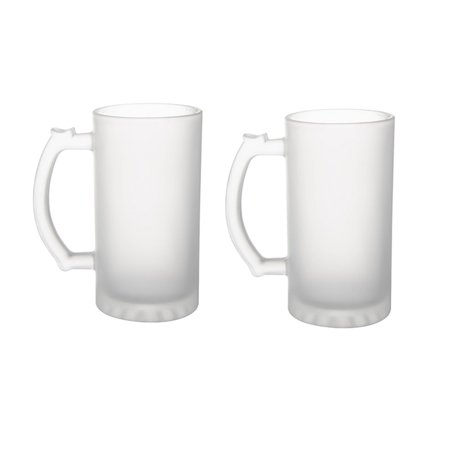 Souvenir Stein - 2 Pack Frosted Glass 16 oz. Stein Beer Mug - Tankard Beer Mugs