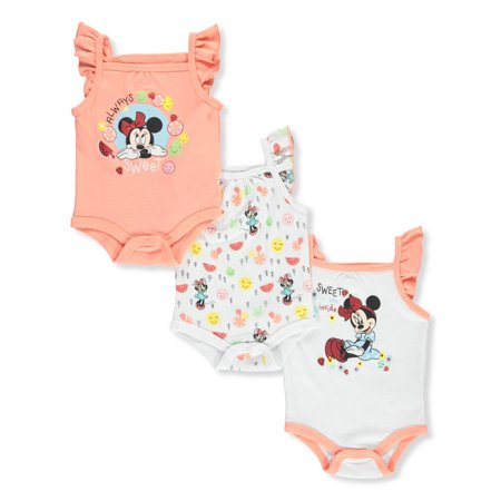 Disney Minnie Mouse Baby Girls' 3-Pack Bodysuits - Baby Minnie Mouse Onesie