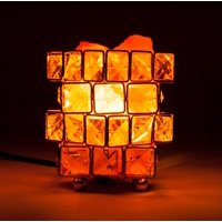 Natural Himalayan Crystal Salt Lamp with Metal Base,Dimmable Controller, Dimmer Switch,UL-Listed Cord - Cube