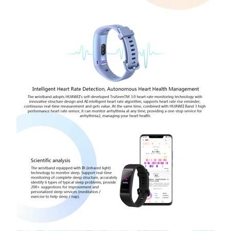 HUAWEI Band 3 0 95-Inch AMOLED Color Screen 120*240 BT 4 2 Smart Bracelet  Real-Time Heart Rate Sleep Monitoring Heart Health Management Multiple
