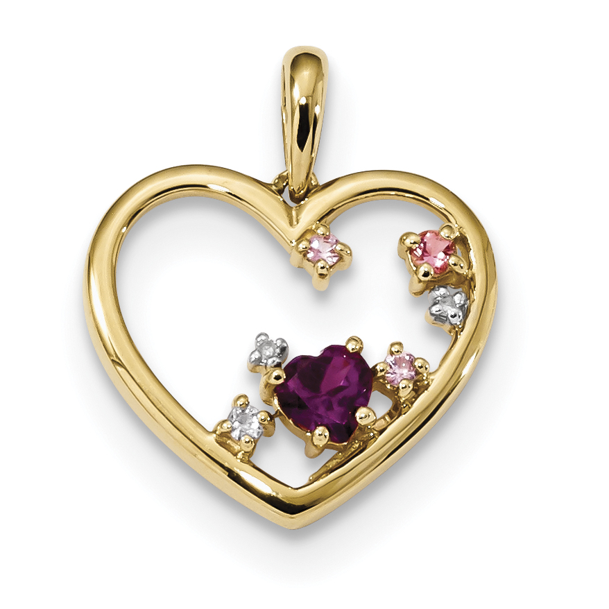 14k Rhodolite Garnet, Pink Tour. & Pink Sapp. & Diamond Polished Heart P by Core Gold