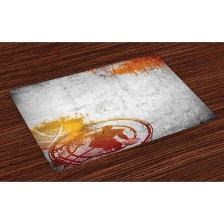 Concrete Fabric - Basketball Placemats Set of 4 Basketball Streetball and Paint Stains Image on Concrete Wall Rustic Print, Washable Fabric Place Mats for Dining Room Kitchen Table Decor,Charcoal Orange, by Ambesonne