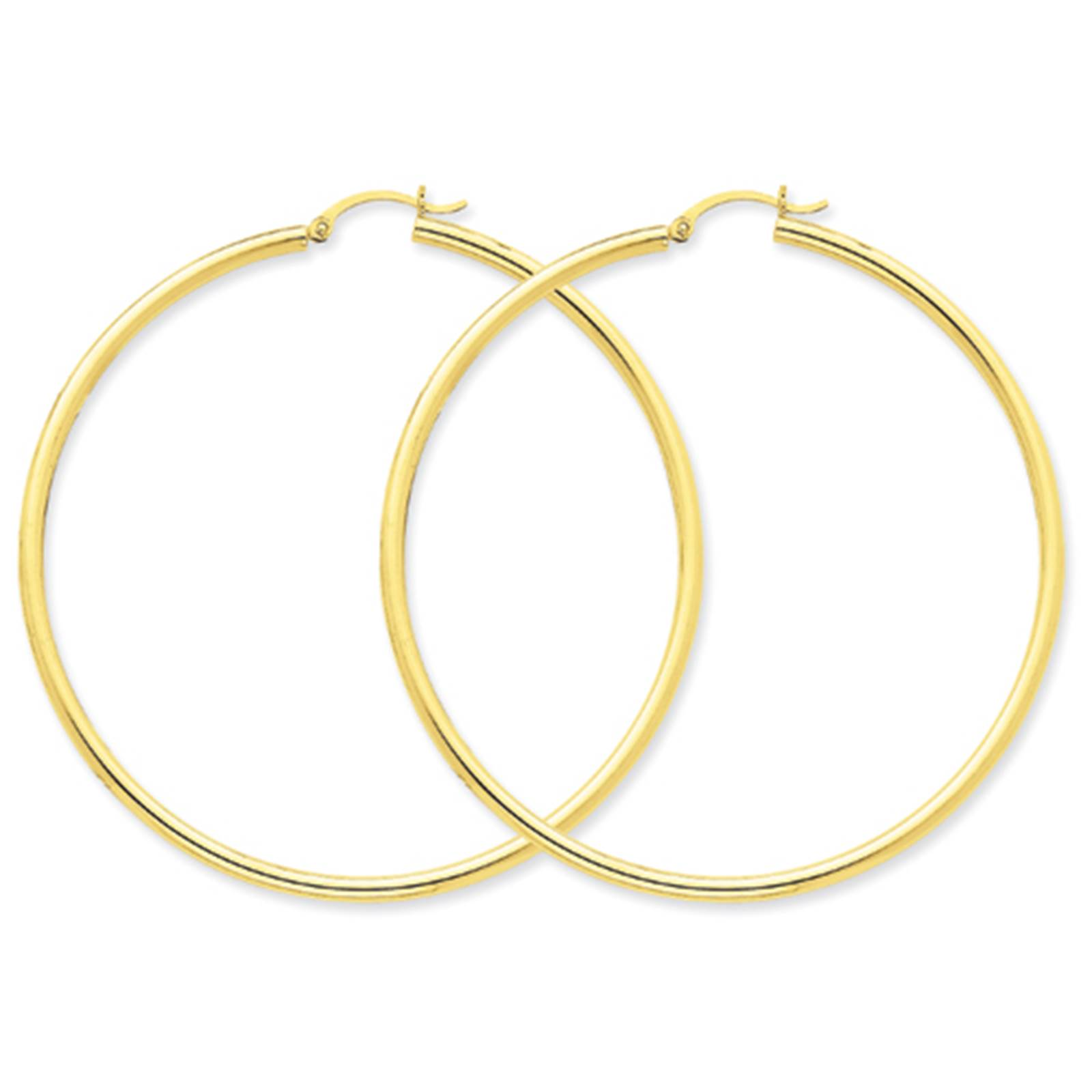 10k Polished 2.5mm Round Hoop Earrings