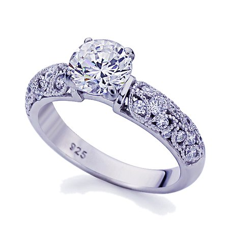 Women's Platinum Plated Sterling Silver 1.5ct Round CZ Vintage Wedding Engagement Ring ( Size 5 to 9 - Vintage Platinum Wedding Rings