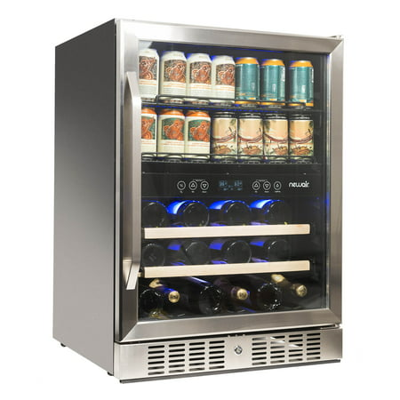 Brushed Stainless Steel Wine Cooler (NewAir AWB-400DB Dual Zone Wine/Beverage Cooler and Refrigerator, Stainless Steel )