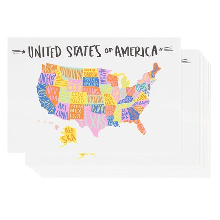 USA Postcards - 40-Pack U.S. Map Postcards, Self Mailer Mailing Side Travel Postcards, Hand-Drawn Artwork Design, United States Map Postcards with 50 States, 4 x 6 (Postal Approved Mailing Bags)