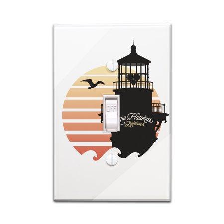 Cape Hatteras Light (Cape Hatteras Lighthouse, North Carolina - Silhouette - Lantern Press Artwork (Light Switchplate)