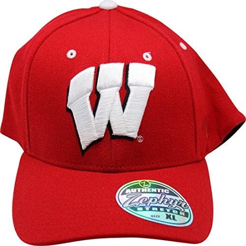 NCAA Zephyr Wisconsin Badgers Flex Fit Adult Cap Hat XL
