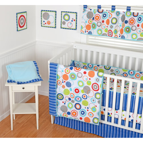 Sumersault Simple Circles Navy 9-Piece Nursery in a Bag Crib Bedding Set with BONUS Bumper