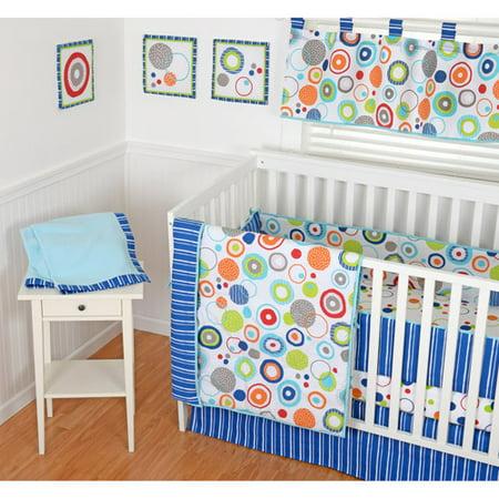 Sumersault Simple Circles Navy 9-Piece Nursery in a Bag Crib Bedding Set with BONUS Bumper by