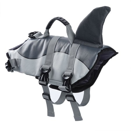 Dog Life Jacket Pet Float Coat Dog Lifesaver Dog, Shark Style, Grey