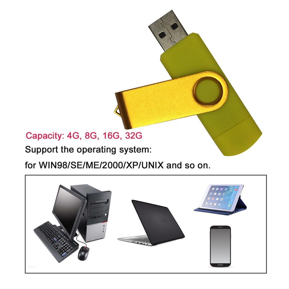 2 In 1 Plug & Play OTG USB2.0 Flash Drive Memory Stick Metal USB Portable Storage Pendrives U Disk for Android Smartphone