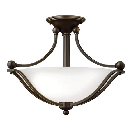 Hinkley Lighting 4651-OPAL 2-Light Indoor Semi-Flush Ceiling Fixture with Opal Shade from the Bolla Collection