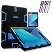 Galaxy Tab S3 9.7 Case, Mignova Heavy Duty Hybrid Protective Case Build In Kickstand For Samsung Galaxy Tab S3 9.7 inch SM-T820 SM-T825 + Screen Protector Film and Stylus Pen (Black / Indigo Blue)