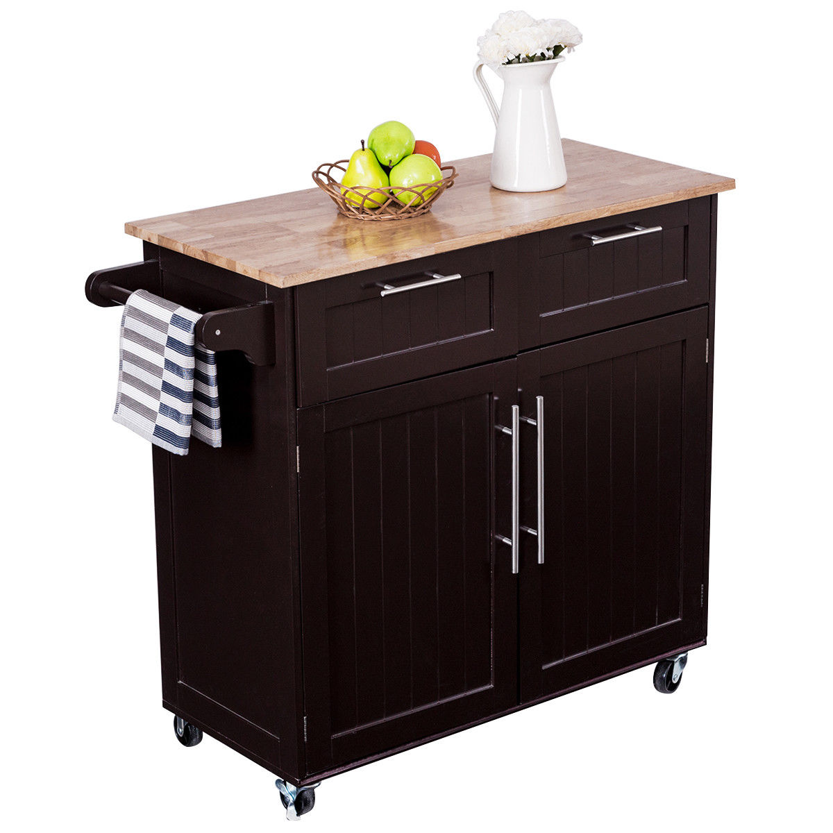 Costway Rolling Kitchen Cart Island Heavy Duty Storage Trolley Cabinet  Utility Modern