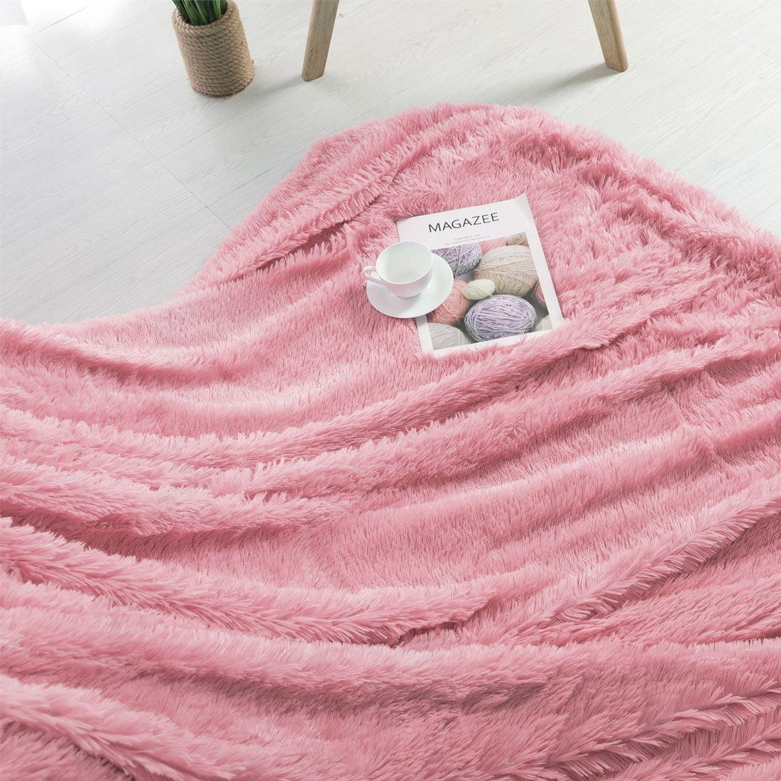 "Luxury Soft Shaggy Faux Fur Blanket Ultra Blanket Twin 59"" x 78"" Light Yellow"