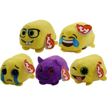 TY Beanie Boos - Teeny Tys Stackable Plush - Emoji - SET OF 5 (4 inch) (Sad, Wink, Dork, Devil & Hap](Emoji Wink)