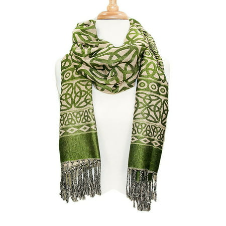 Ladies Celtic Heritage Scarf, Ancient Celtic Style Design, Moss Green (Heritage Wrap)
