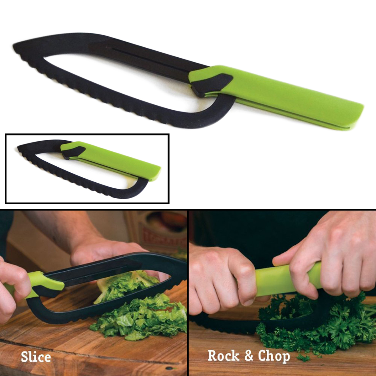 Rock n Slice In'a Snap 2-In-1 Kitchen Food Prep Knife Cutting Slicing Chopping