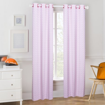 Mainstays Kids Pink Heart Scroll Room Darkening Coordinating Window Curtain