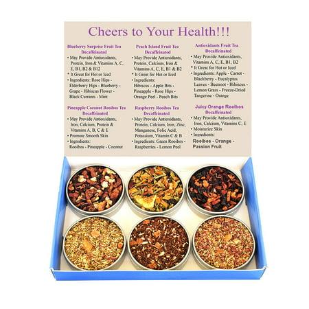 Tea Sampler - Fruit Tea - Antioxidants Tea - Rooibos Tea - 100% Natural - Decaffeinated - Blueberry Tea - Peach Tea - Raspberry Tea - Loose Leaf Tea