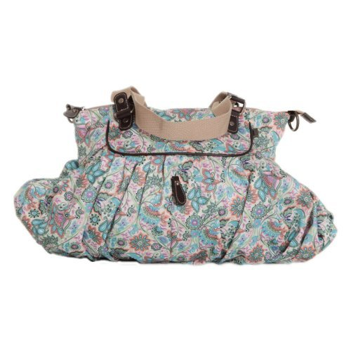 OiOi Baby Bags 6567 Paisley Gathered Tote- Multi- Pink-Blue-Mint-White