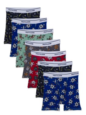 Fruit of the Loom Assorted Cotton Boxer Brief Underwear, 7 Pack (Toddler Boys)
