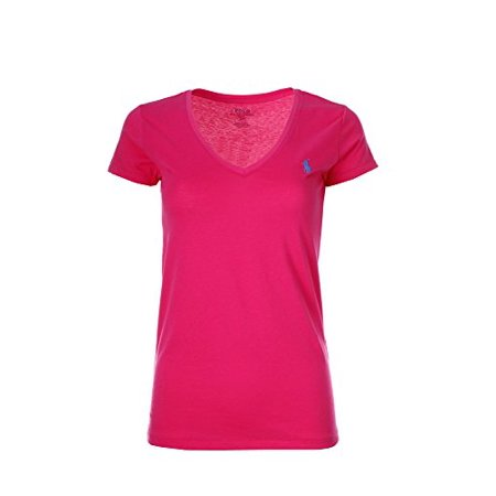 Polo Ralph Lauren Womens Pony Logo V-Neck Tee (X-Small, Shocking Pink)