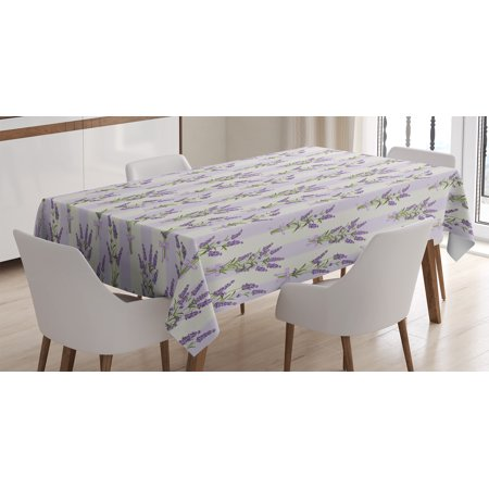 Lavender Tablecloth, Stripes and Flowers with Ribbons Romantic Country Home Decoration Spring Season Design, Rectangular Table Cover for Dining Room Kitchen, 60 X 84 Inches, Purple, by Ambesonne](Spring Table Decorations)