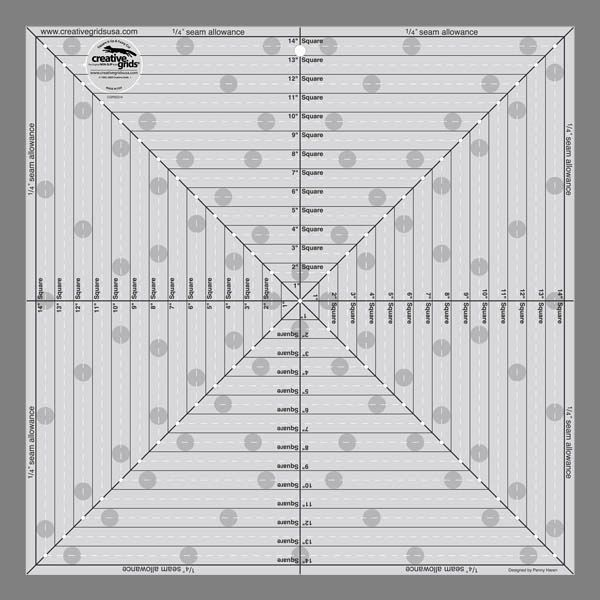 """Creative Grids 14 1/2"""" Square It Up or Fussy Cut Square Ruler"""