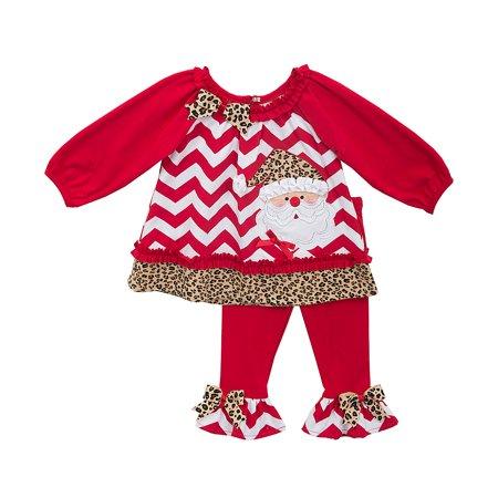 Toddler Little Girls Chevron Cheetah Print Santa Legging Set 3T - Aqua From Cheetah Girl