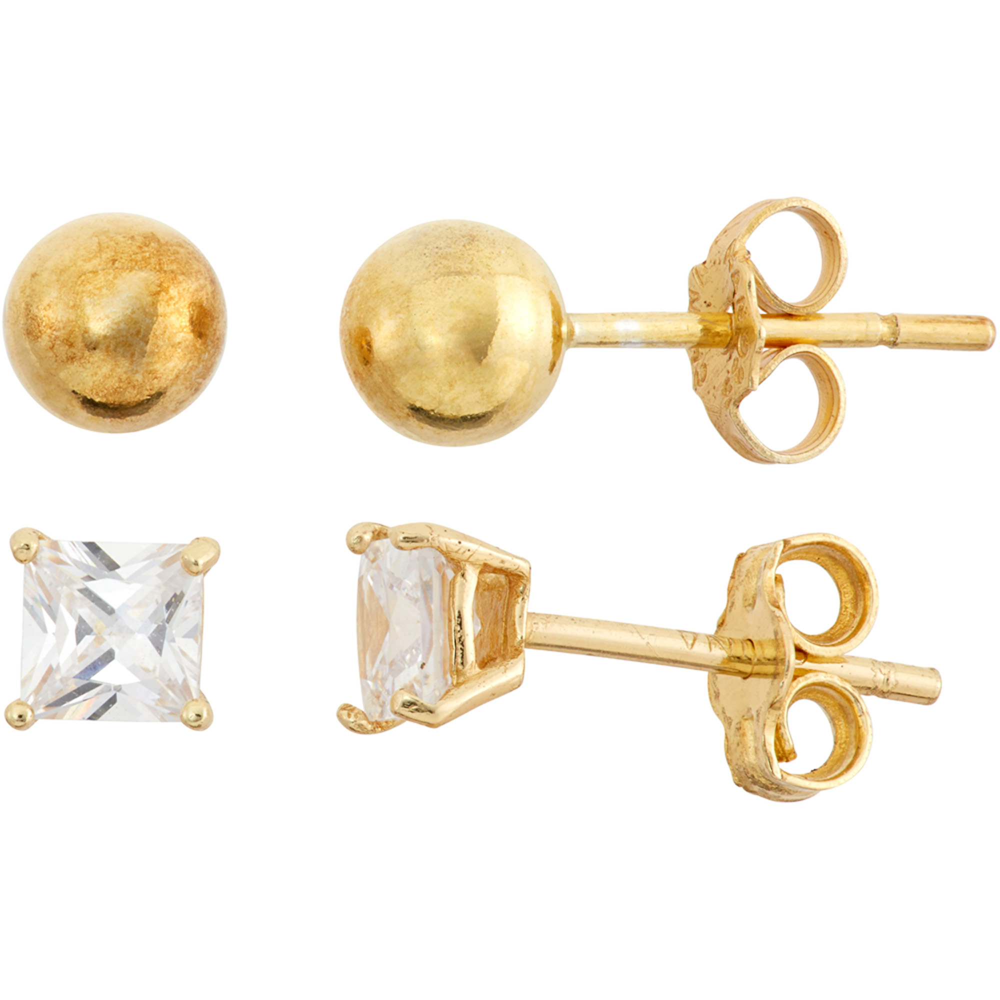 White CZ 18kt Gold over Sterling Silver Set of 4mm Square and 5mm Ball Stud Earrings