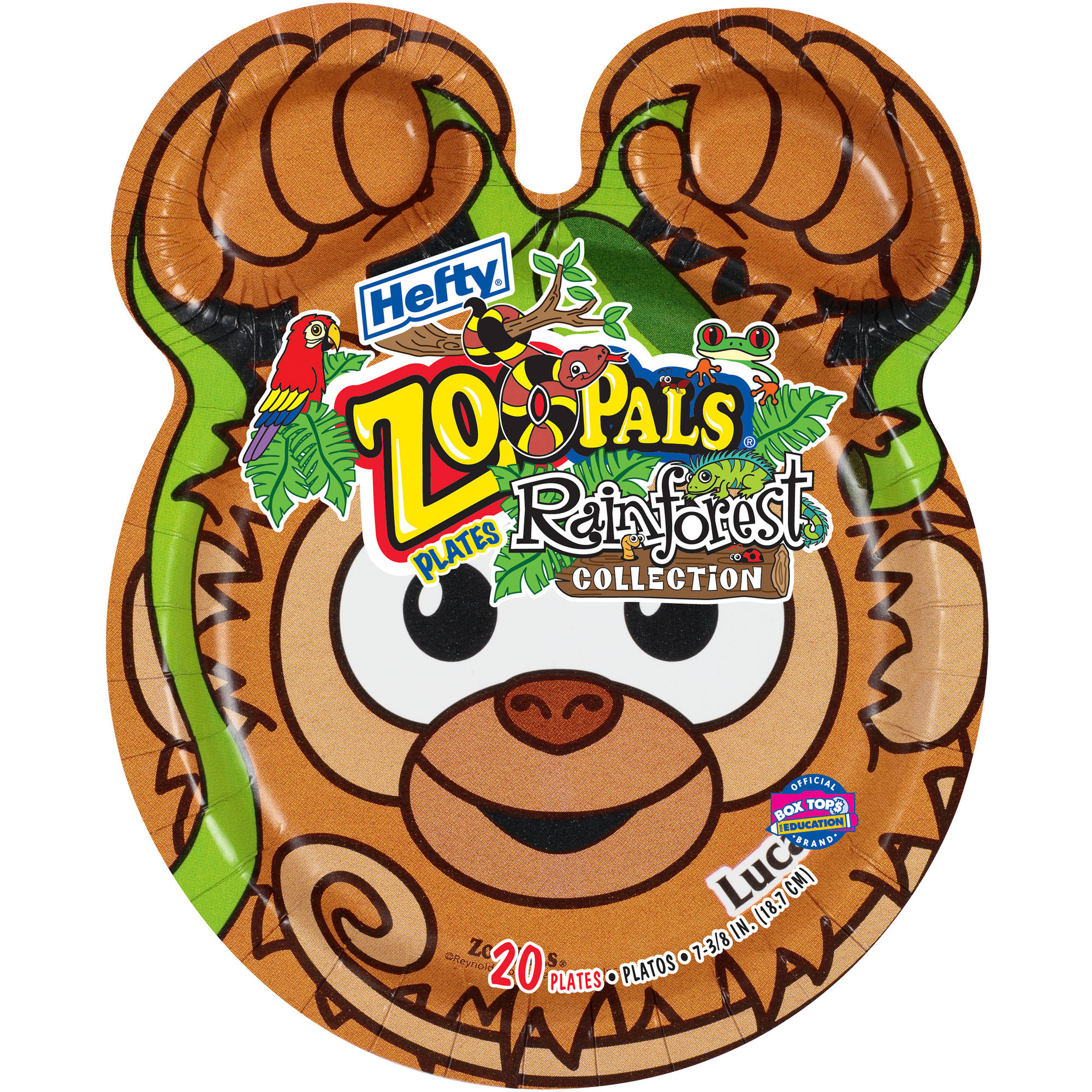 Hefty Zoo Pals Rainforest Collection Plates, 20 count
