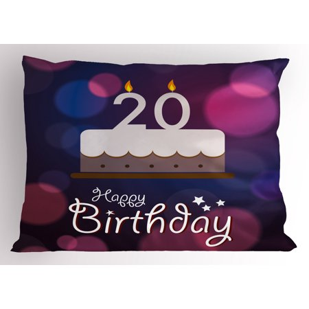 20th Birthday Pillow Sham Twenty Years Old Birthday Cake Cartoon Design on Navy Blue Backdrop, Decorative Standard Queen Size Printed Pillowcase, 30 X 20 Inches, Lilac and Purple, by