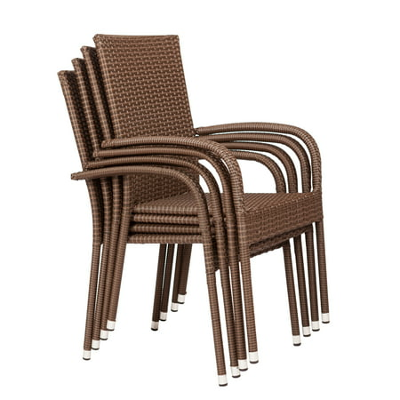 Patio Sense Morgan Stacking Patio Dining Chair (Set of 4)