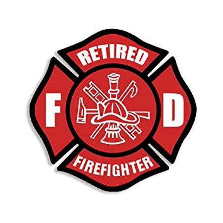 Red RETIRED FIREFIGHTER Maltese Cross Sticker Decal (fire fighter fireman decal) 4 x 4 inch