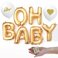 Gold OH BABY!Girl Boy Baby Shower Mylar Balloons Two Oh Baby Tattoos and two Gold lettering white balloons Decorations