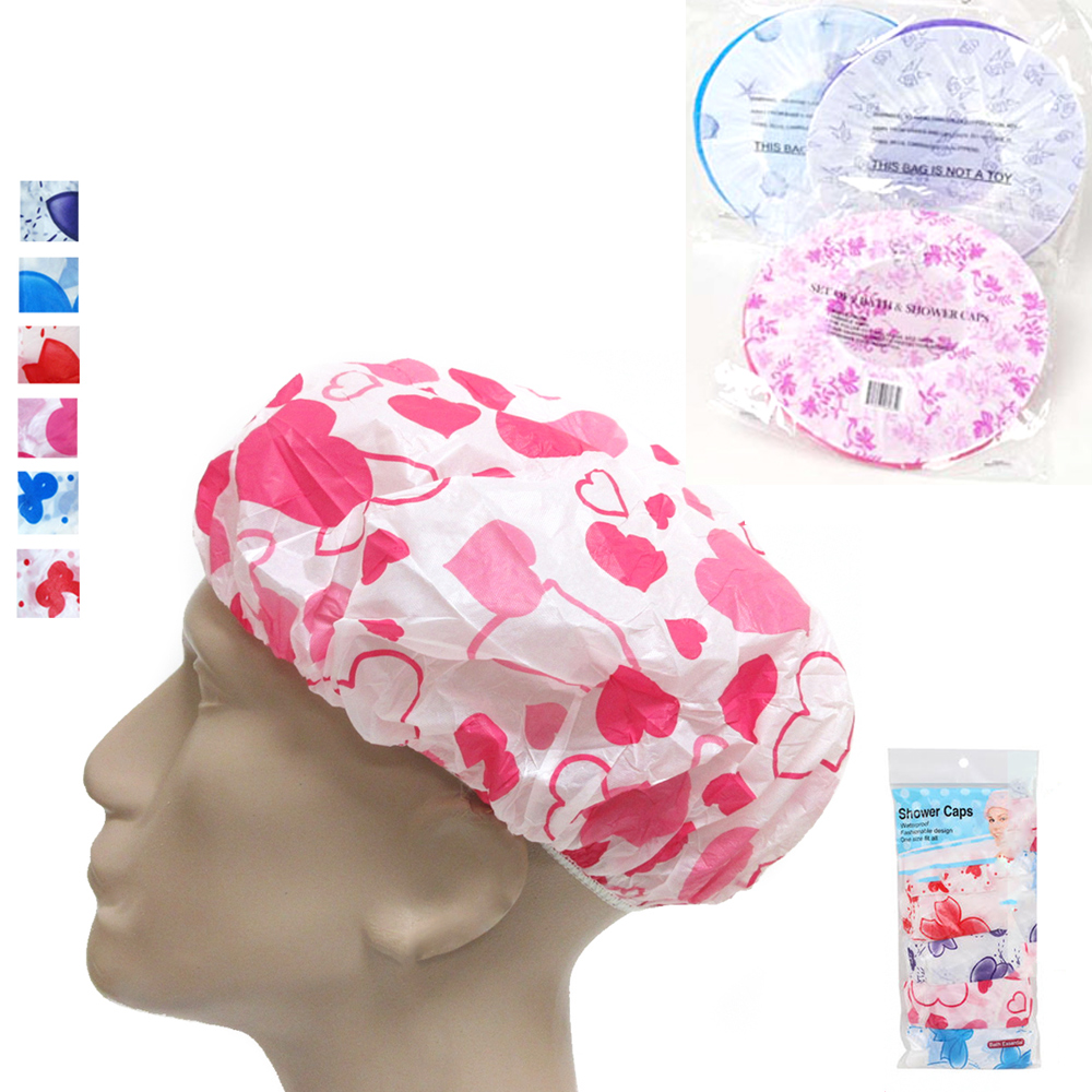 6 Pack Shower Cap Womens Bath Hat Waterproof Elastic Band Protects Hair Home New